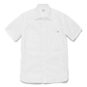 メンズ シャンブレー半袖シャツ LCS46005−15 ホワイト