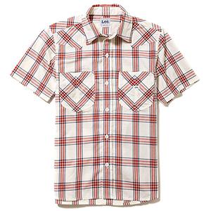 メンズ ウエスタンチェック半袖シャツ LCS46008−3 レッド