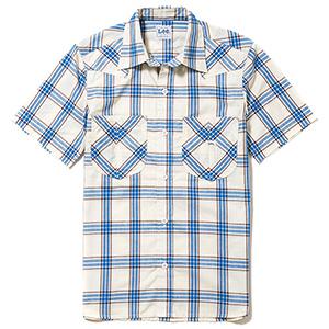 メンズ ウエスタン半袖シャツ LCS46008−7 ブルー