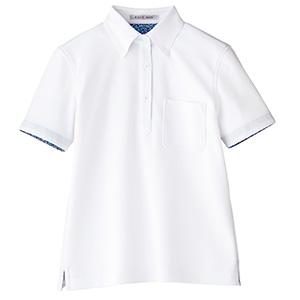 レディス吸水速乾ポロシャツ 花柄A FB4018L−15 ホワイト (S〜3L)