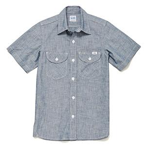 レディース シャンブレー半袖シャツ LCS43005−7 ブルー
