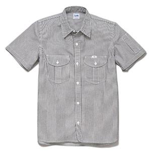 レディース ワーク半袖シャツ LWS43002−18 ホワイト×ブルー
