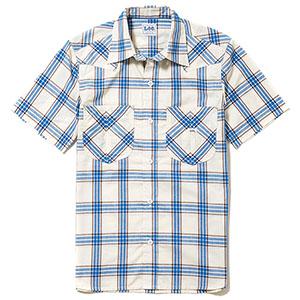 レディース ウエスタンチェック半袖シャツ LCS43008−7 ブルー