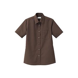 レディス レギュラーカラー半袖ブラウス FB4036L−5 ブラウン