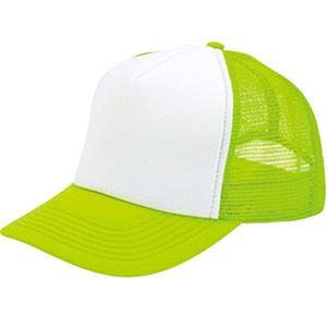 アメリカンキャップ MC6615−44 蛍光グリーン×ホワイト フリー