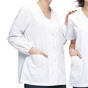 女子衿なし長袖白衣 C201