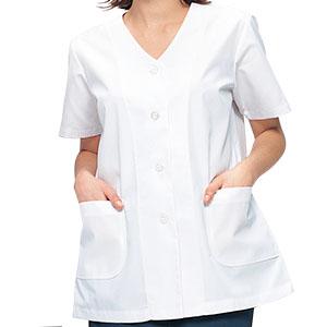 女子衿なし半袖白衣 C251