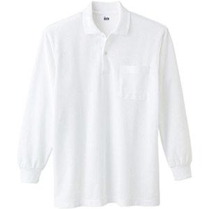 T/C長袖ポロシャツ ポケット付き 00169−VLP 001 ホワイト SS〜5L