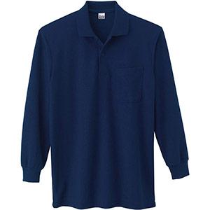 T/C長袖ポロシャツ ポケット付き 00169−VLP 031 ネイビー SS〜5L