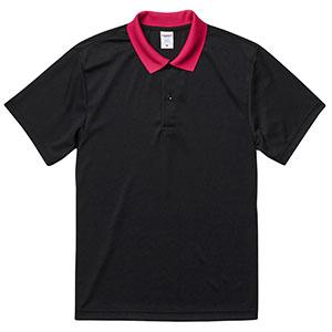 4.1oz ドライアスレチックポロシャツ 5910−01 2065 ブラック/トロピカルピンク