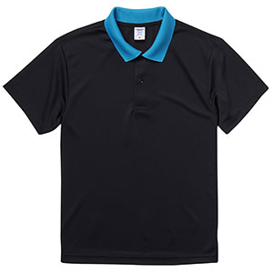 4.1oz ドライアスレチックポロシャツ 5910−01 2072 ブラック/ターコイズブルー