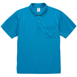 4.1oz ドライアスレチック ポロシャツ(ポケット付) 5912−01 538 ターコイズブルー