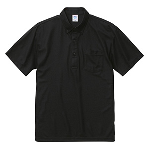 4.7ozスペシャルドライカノコポロシャツ(ボタンダウン)(ポケット付)(ローブリード)2023−01 002ブラック