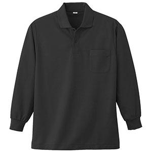 長袖ポロシャツ (胸ポケット付) K383 80 ブラック