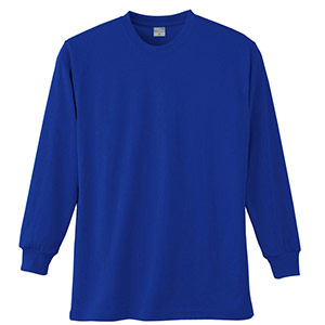 長袖Tシャツ (胸ポケット無) K9009 5 ブルー SS〜5L