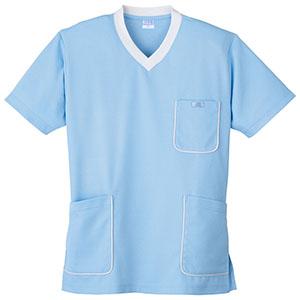 スクラブニットシャツ 390−6 サックス