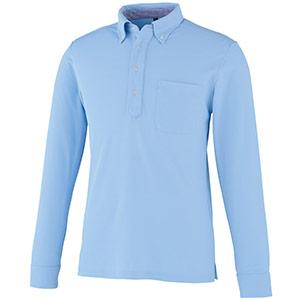 DRY ボタンダウン 長袖ポロシャツ 9030−6 サックス SS〜5L