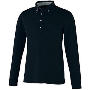 DRY ボタンダウン 長袖ポロシャツ 9030−80 ブラック SS〜5L