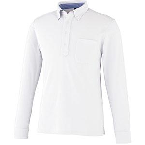DRY ボタンダウン 長袖ポロシャツ 9030−90 ホワイト SS〜5L