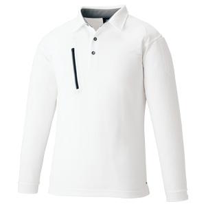 ファスナーポケット 長袖ポロ 3675−90 ホワイト