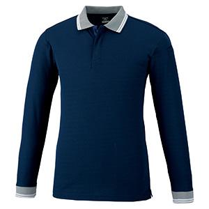 スナップ釦ストレッチ 長袖ポロシャツ 371 1 ネービー