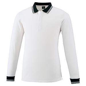 スナップ釦ストレッチ 長袖ポロシャツ 371 90 ホワイト