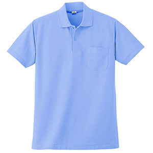 半袖ポロシャツ (胸ポケット付) K272 6 サックス