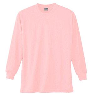 長袖Tシャツ (胸ポケット無) K9009 13 ピンク SS〜5L
