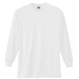 長袖Tシャツ (胸ポケット無) K9009 90 ホワイト SS〜5L