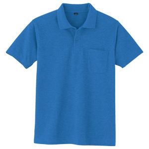 鹿の子 半袖ポロシャツ 001 8 Rブルー