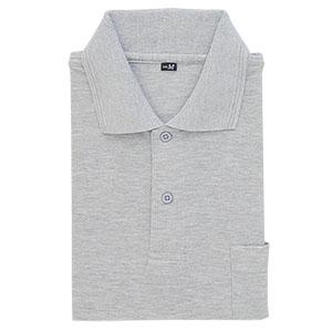 鹿の子 長袖ポロシャツ 002 43 杢グレー