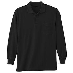 鹿の子 長袖ポロシャツ 002 80 ブラック