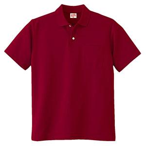 ヘビーウェイト半袖ポロシャツ (ポケット付き) 100 18 ワイン