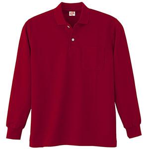 ヘビーウェイト長袖ポロシャツ (ポケット付き) 200 18 ワイン