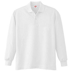 ヘビーウェイト長袖ポロシャツ (ポケットなし) 210 90 ホワイト