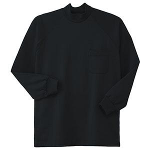 鹿の子 長袖ハイネックシャツ 003−80 ブラック