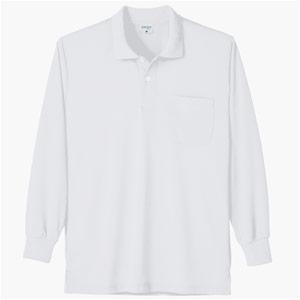 接触冷感 長袖ポロシャツ 7362 90 ホワイト