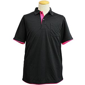 吸水速乾 レイヤード半袖ポロシャツ 6018−80 ブラック