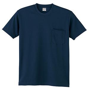 DRY 半袖Tシャツ P付 9012−1 ネービー SS〜5L
