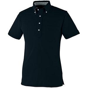 DRY ボタンダウン 半袖ポロシャツ 9020−80 ブラック SS〜5L