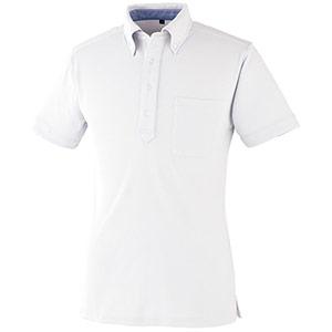 DRY ボタンダウン 半袖ポロシャツ 9020−90 ホワイト SS〜5L