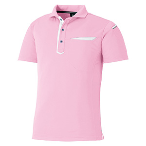 切りポケ半袖ポロ ペン差し 3684−13 ピンク