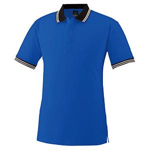 スナップ釦ストレッチ 半袖ポロシャツ 370 8 Rブルー