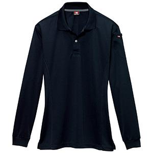 長袖ポロシャツ 303−035 ブラック (SS〜3L)