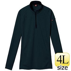 長袖ジップシャツ 413−035 ブラック (4L)