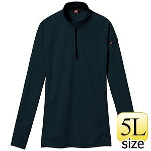長袖ジップシャツ 413−035 ブラック (5L)