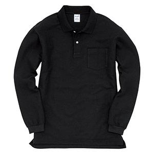 長袖ポロシャツ 203−035 ブラック (SS〜3L)
