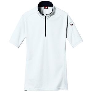 半袖ジップシャツ 415−029 ホワイト (SS〜3L)