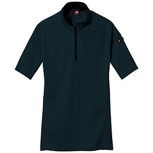 半袖ジップシャツ 415−035 ブラック (SS〜3L)