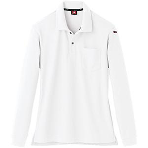 長袖ポロシャツ 505−29 ホワイト (SS〜3L)